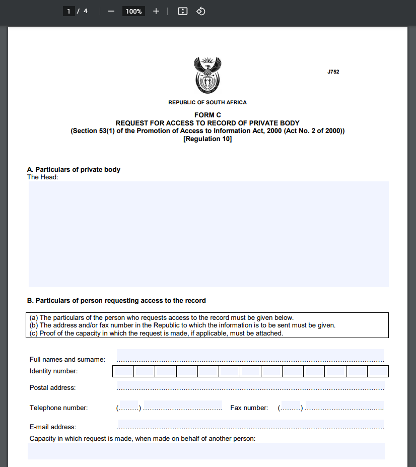 Access to Information Request Form
